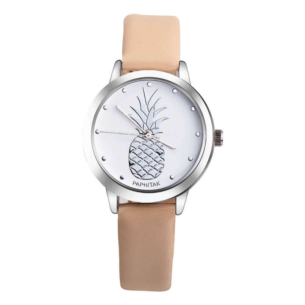 Top Brand Simple Women Pineapple Leather Band Analog Quartz Watch Ladies Rose Gold Dial Casual Female Sport Watches montre femme unisex men women watch top brand luxury cmk quartz watch fashion casual rose gold male sport watches montre femme hot selling