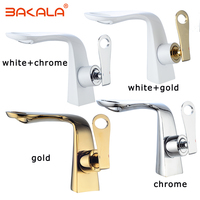 Bathroom Basin faucet Hot and Cold double Waterfall faucet Gold/White Single Handle Deck Vanity Sink Mixer Water Taps BR5905