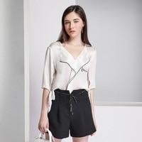blouse women silk shirt French lazy pajamas half sleeves office lady fashion ruffled silk solid shirt L7