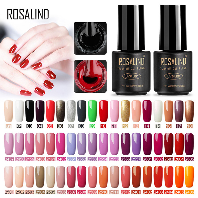 ROSALIND Nail Gel Polish Set For Gel Varnishes 7ML Fresh Colors Nails Semi Permanent UV manicure for nail art Hybrid Gel polish