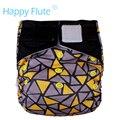 Счастливый Флейта OS Ночной AIO ткань пеленки для ребенка, бамбук сшиты внутри вставки, hook and loop version, S, M, L, регулируемый