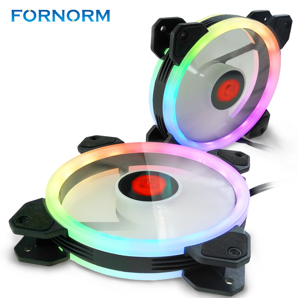 FORNORM RGB LED RGB PC Fans Adjustable Color LED Fan CPU Coolers 120mm High Performance RGB LED Six Fans with
