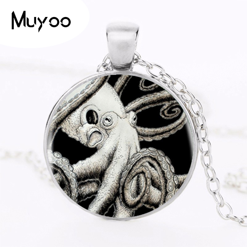 2017 Octopus Pendant Choker Statement Silver Glass Photo Necklace For Women Dress Accessories Fashion Style Jewerly HZ1