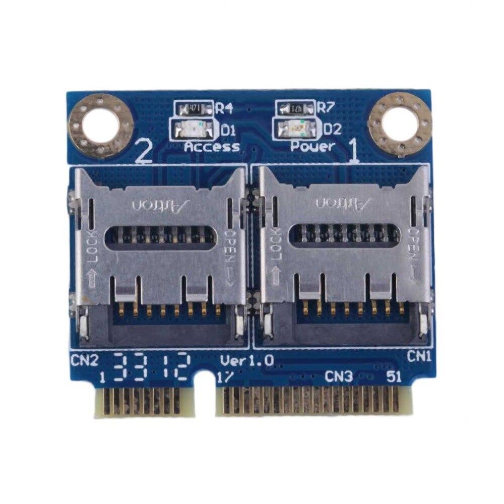 Mini PCIE Card Adapter PCI-e mpci-e to Dual TF SDHC SDXC Reader Adaptor PCI-E TO TF Card Support Windows 7 / Vista / XP Mac OS