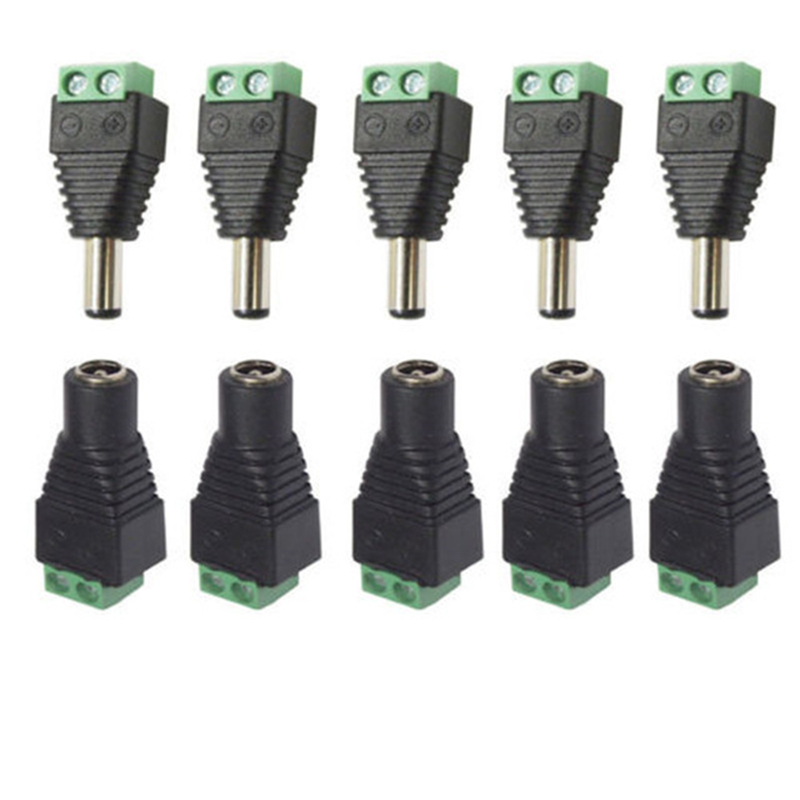 5 Set CCTV Cameras 2.1mm X 5.5mm Female Male DC Power Plug Adapter DC Power Female Plug Adapter Connector Male Plug Socket