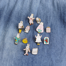 2pcs/set Cartoon Animals Brooch Cute Cat Milk BRUHCH  Rabbit Jackets Lapel Enamel Pins Badges Kids Jewel