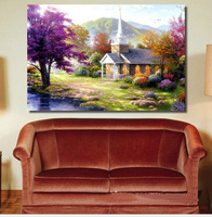 CNA 5D Diy Diamond Painting Full Square Rhinestone Europen Style Autumn Scenic Castle House Embroidery Room Decor Kits