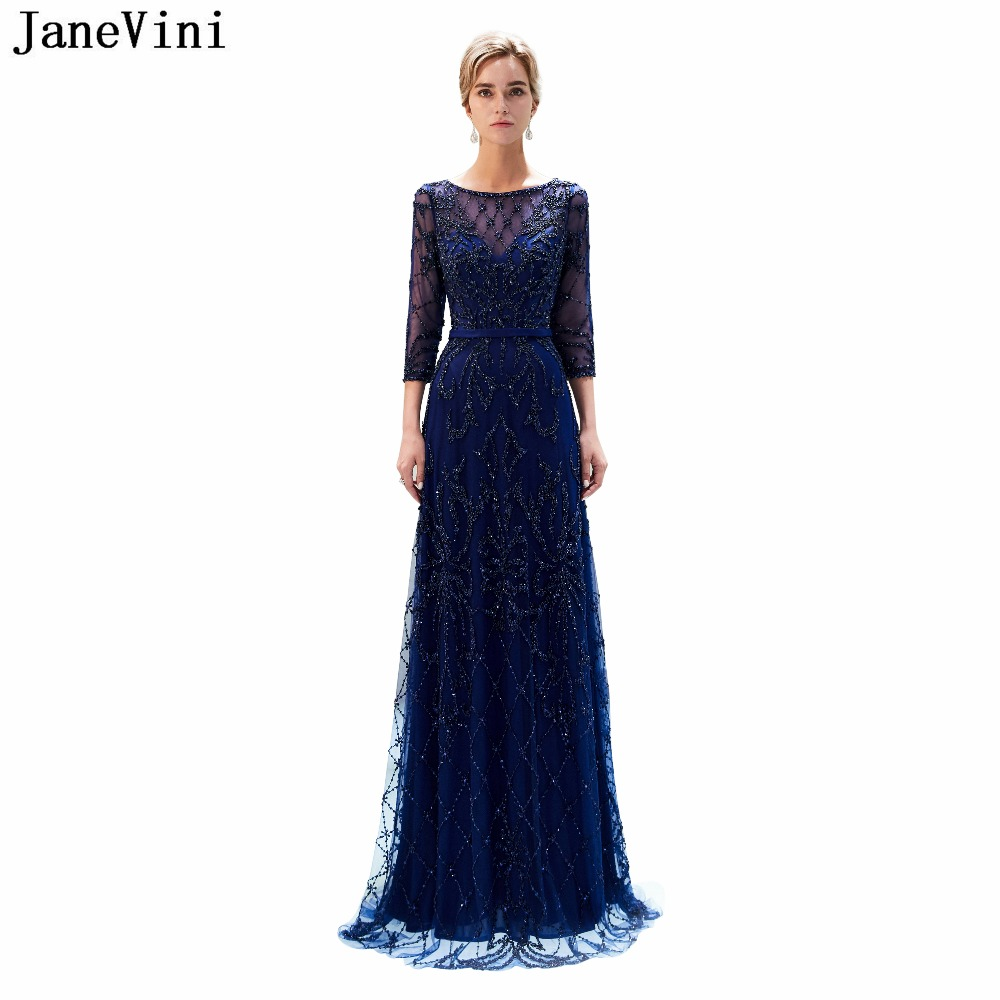 JaneVini Vintage Navy Blue Long   Bridesmaid     Dresses   with Sleeve 2019 Luxury Full Beaded A Line Scoop Neck Tulle Formal Prom Gowns