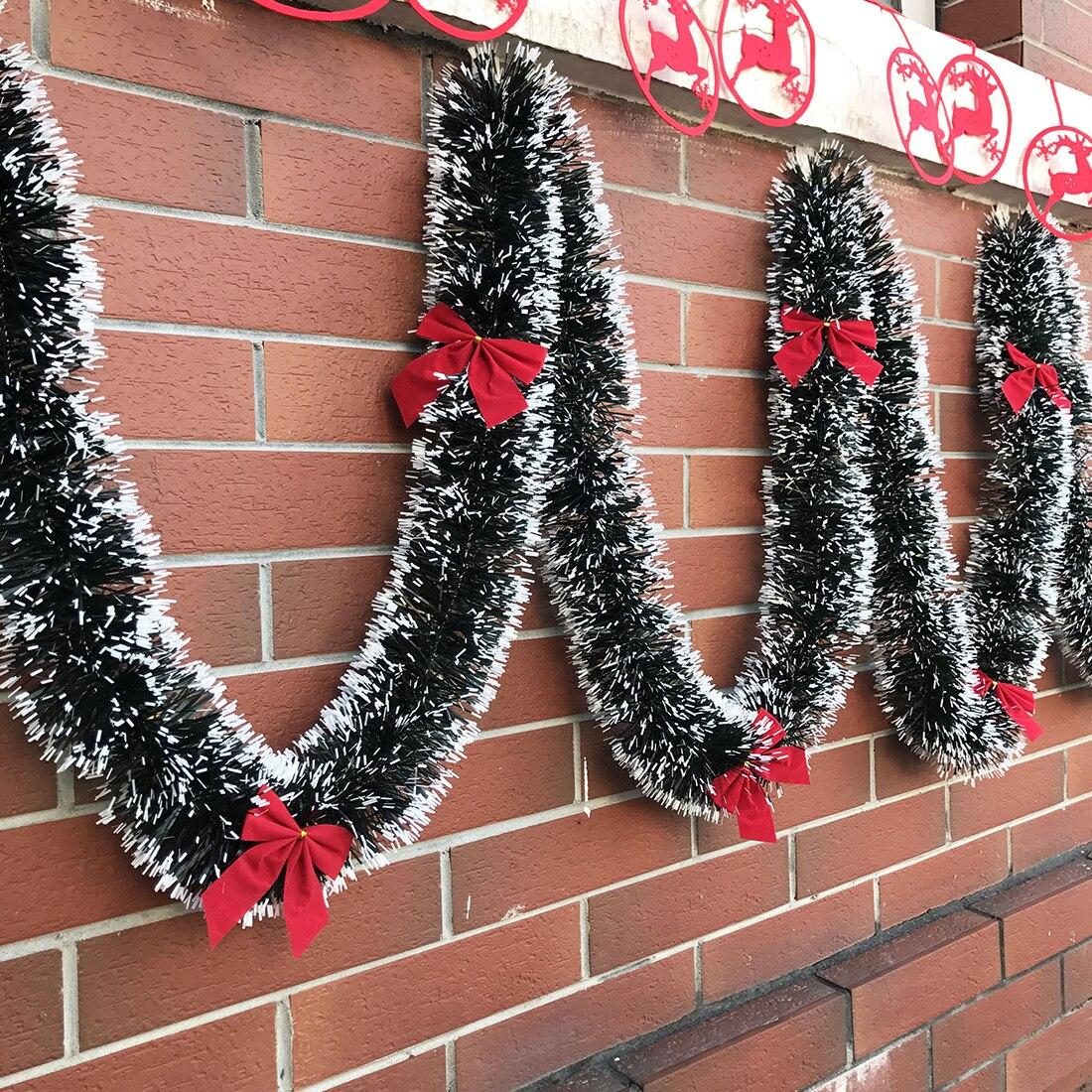 2M Christmas Garland Decoration Bar Tops Ribbon Christmas Tree Ornaments White Dark Green Cane Tinsel Party Supplies