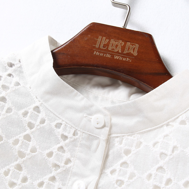 2018 Spring new arrival blouse embroidered a-line swing wardrobe white shirt female NW18A1790