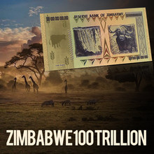 ZIMBABWE AAA Gold posadzone 100 bilionów kolorowych 24K złoty banknot BILL dla kolekcji domu prezent