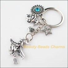 Moda halloween bruxa girassol estrela cruz chaveiro tibetano prata encantos pingentes