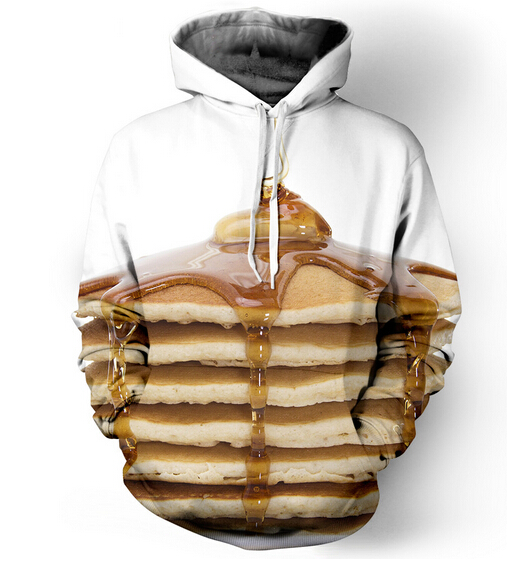 Women Men Fashion pancake stack funny food 3D Hoodie Outerwear Harajuku Loose Hooded Sweatshirt