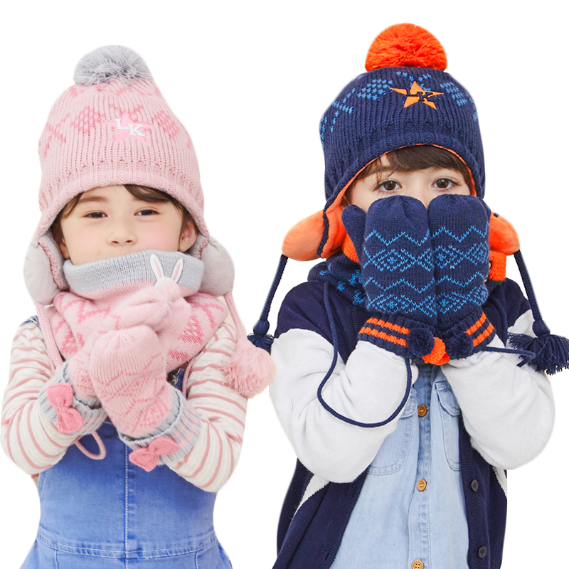 New Winter Children Warm Thick Hat Scarf Gloves 3pcs Sets Knitted Baby Kids Beanies Caps Neck Warmers Gloves Set For Boys Girls