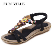 FUN VILLE New Fashion Summer Women Sandals Elastic band Ladies Flat shoes Female Shoes Rome style Casual shoes Gladiator shoes(China)