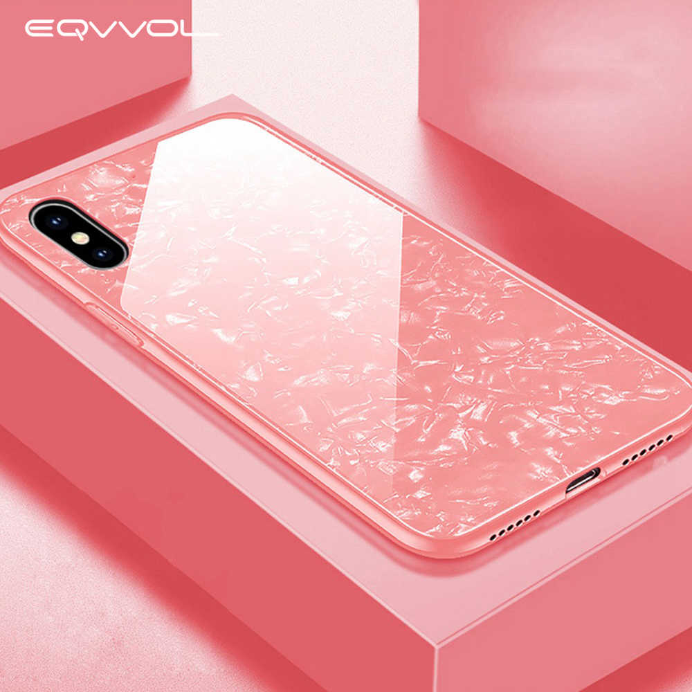 Eqvvol HD Tempered Glass Phone Case For iphone X 8 7 6 6s Plus Shockproof Cases Conch Shell Skin Back Cover For iPhone 10 Coque