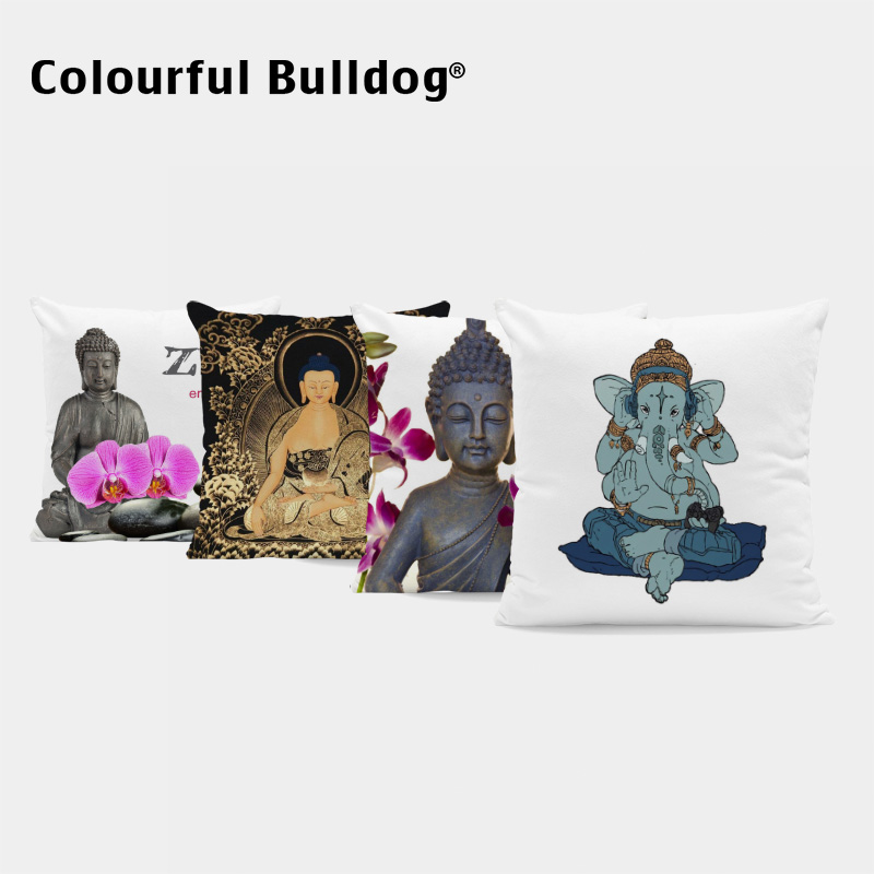 Ganesha Thailand China Buddha Cushion Cover Geometry Pillow Case Blue Bamboo Watercolor Pillowcases Letter Couch Office Decorate