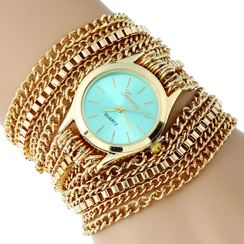 Gnova Platinum Metal Golden Chain Large Strap Watch women wristwatch Clasic Dial luxury woman  hours casual dress nokia 6500 clasic купить в ростове