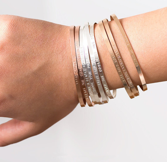 9e3e0fc0025 Personalized Cuff Silver/Gold/Rose Gold Fill Bangles,Positive Quotes Custom  Any Name Or Messages Bracelet Bangles Gifts For Her-in Bangles from Jewelry  ...