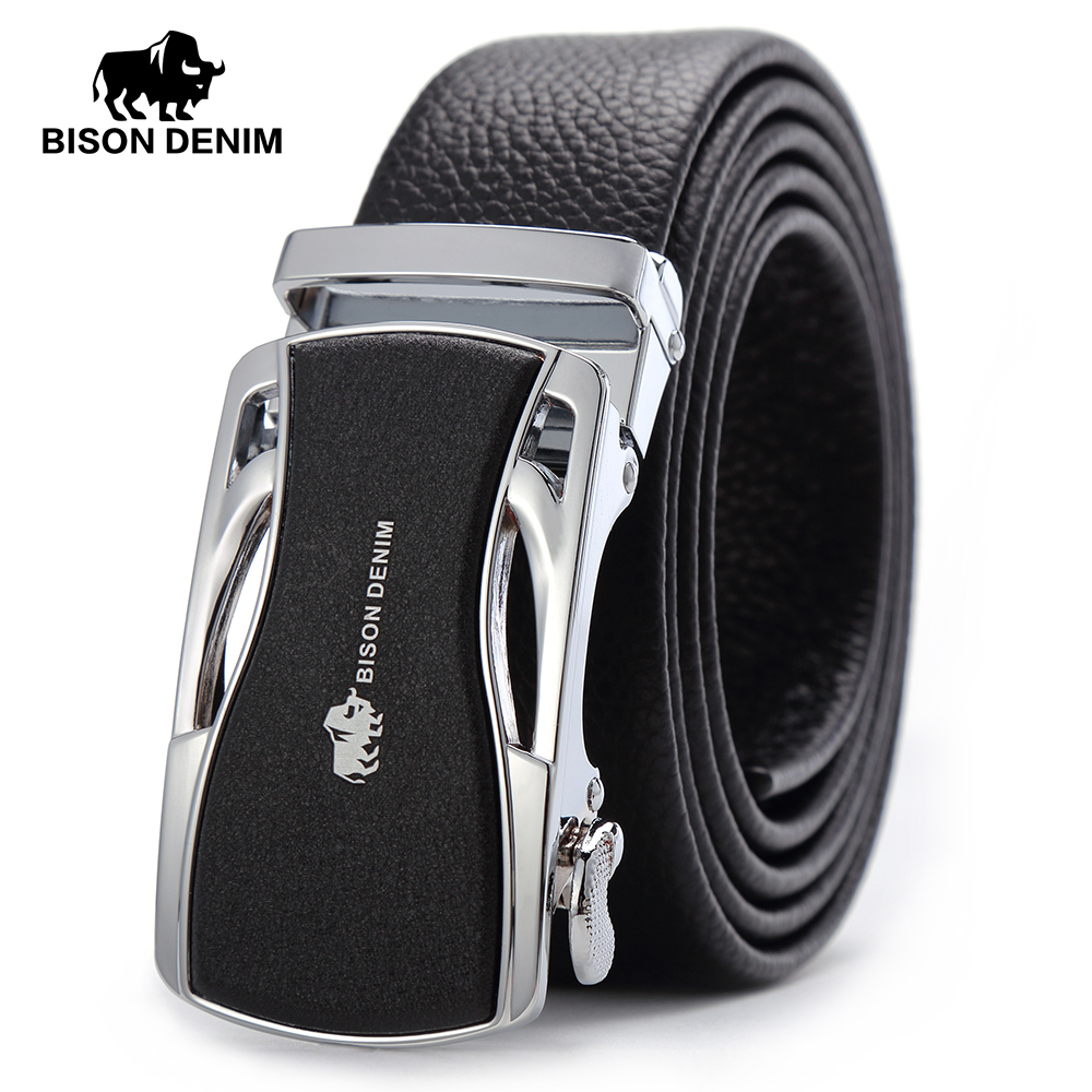 BISON DENIM Brand Men Belts Genuine Leather Real Cowskin Mens Belt Automatic Buckle Luxury Waistband Black N7316