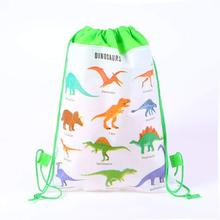 12pcs Dinosaur Party Theme Happy Birthday Drawstring Bag As Gift for Boy Girl Aniversario