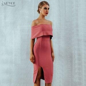 Image 5 - Adyce 2020 ฤดูร้อนใหม่ผู้หญิง Bodycon ผ้าพันแผลชุด Slash คอปิดไหล่ MIDI Club Dress ชุดราตรีชุดราตรี Vestidos