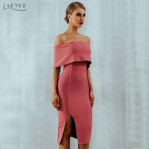 Image 5 - Adyce 2020 New Summer Woman Bodycon Bandage Dress Slash Neck Off Shoulder Midi Club Dress Celebrity Evening Party Dress Vestidos