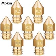 5 шт. MK8 сопло 0,4 мм 0,3 мм 0,5 мм 0,8 мм Медная головка Латунное сопло для 3d принтера с резьбой 1,75 мм 3,0 мм нить экструдер сопло