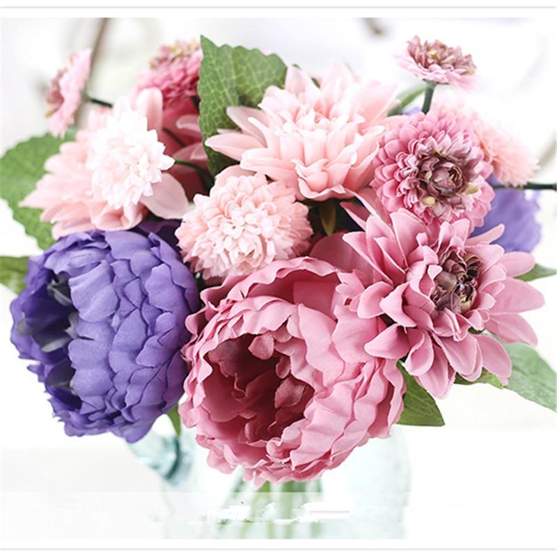 Purple Blue Colors Dahlia Artificial Flowers Wedding Bouquet Bridal ...
