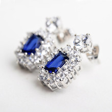 USTAR LUXURY Wedding  Jewelry Set Square Blue Crystals Pendant Necklace Silver Zircon Stud Earrings for women Bride