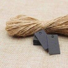 Paper Gift Tags Card black/kraft retagular Festival Wedding Decoration Blank Mini Luggage Label 50pcs with hemp string