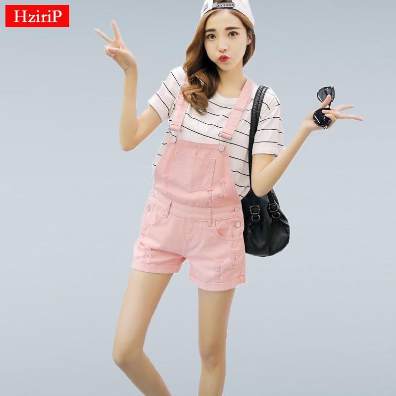 HziriP 2019 New Summer Denim Shorts Women Loose Cowboy Pink Strap Shorts Jeans Hole Fashion College Wind Women Shorts Plus Size