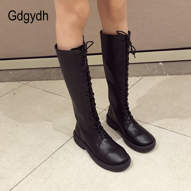 Gdgydh Lace Up Knee High Boots Women Soft Leather Shoes Ladies Low Heels Cross-tied Riding Boots Woman Comfortable Back Zipper back lace up cross crop top and high waist maxi skirt twinset