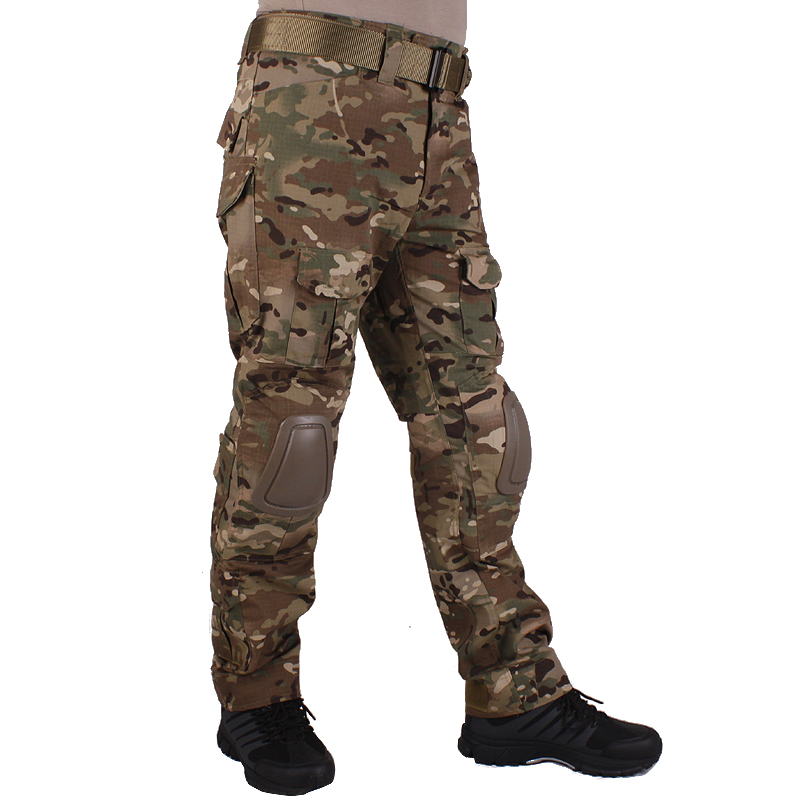 Hunting camouflage pants tactische Broek Multicam MC broek en kniebeschermers militaire game cosplay uniform(China)