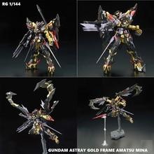 цена на Original BANDAI Gundam RG 1/144 Model ASTRAY GOLD FRAME AMATSU MINA Mobile Suit SEED DESTINY Kids Toys