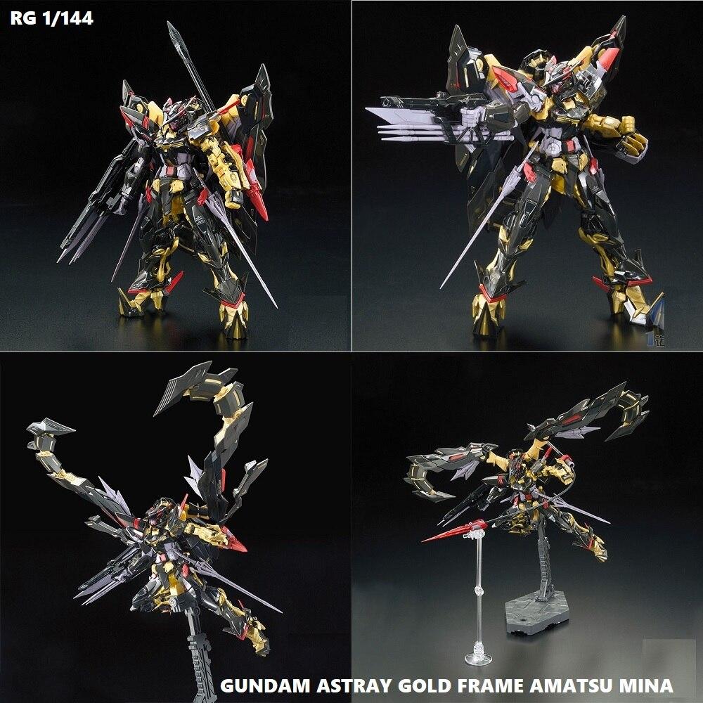 Original Gundam RG 1/144 Model ASTRAY GOLD FRAME AMATSU MINA Mobile Suit Kids Toys With Holder