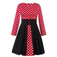 Sisjuly Women 2017 Vintage Party Dress Red Ball Gown Full Sleeve Knee Length 1950s Retro Dresses