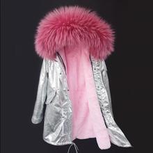 2017 new parka Silver pu coat real fur coat winter jacket women natural raccoon fur collar warm thick parkas Detachable