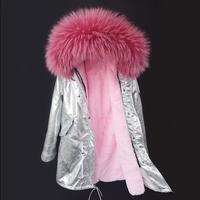 Maomaokong 2018 новая парка серебро пальто Настоящее пальто с мехом зимняя куртка женские натуральный мех енота меховым воротником теплые парки с