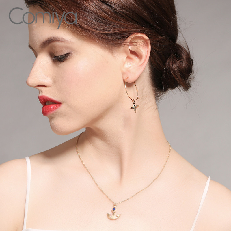 Comiya Fashion Dangle Earring Star Pattern Zinc Alloy Rhinestone Mosaic Gold Color Long Errings For Women Boucle D Oreille