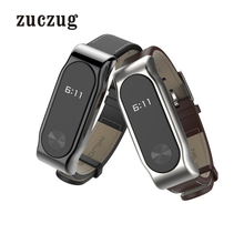 Mijobs PU Leather Bracelet Strap for Xiaomi Mi Band 2 Replacement Wristband With Metal Shell