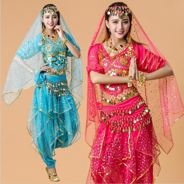 4pcs India Egypt Belly Dance Costumes Bollywood Costumes