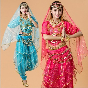 4pcs India Egypt Belly Dance Costumes Bollywood Dancewear Chiffon Dancing Outfit for Ladies Adult