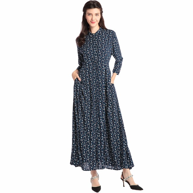 Women Bohemian Maxi Long dress casual Dress Kaftan Islamic Abaya Muslim  robe dot printing shirt dress Long sleeve vestidos RM05 b3c597524