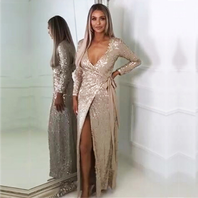 8d37c9f6ba62 JOYFUNEAR. JOYFUNEAR SEXY CLUB WEAR PARTY DRESS WOMENS PINK GOLD KNOT DEEP  V NECK TWIST FRONT HIGH SLIT LONG SLEEVE SEQUIN MAXI DRESS
