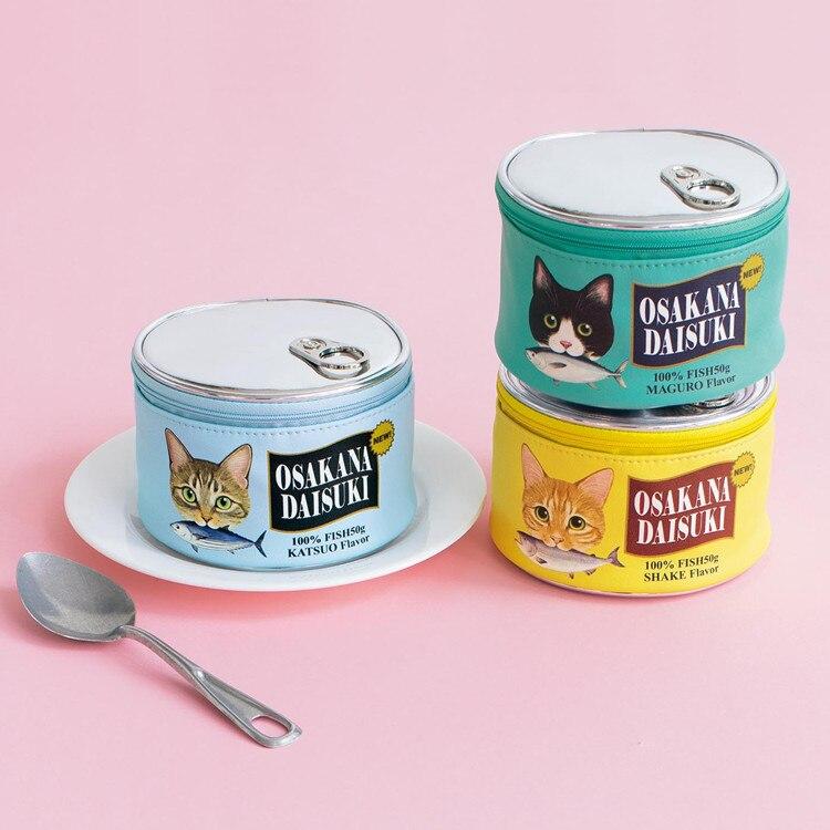 Cat Food Purse Sandbeach Makeup Women Fish Can Shape Canned Food Bag Cosmetic Beautiful Portable Storag Box 4 Colors