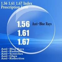 1.56 1.61 1.67 Index Aspheric Optical Prescription Lens Myopia Presbyopia Recipe Glasses Lens Anti Blue rays Anti Glare FT0002