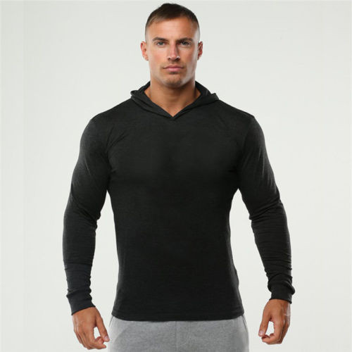 New Gym Mens Athletic Fit Long Sleeve Hoodies Pullover Sweatshirt T Shirt