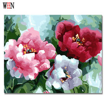 WEEN Three Color Flower Painting By Numbers DIY Hand Painted Drawing Pictures On Canvas Art Pinturas Al Oleo Cuadros Decoracion