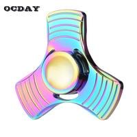 OCDAY Tri Fidget Spinner Metal Hand Spinner Zinc Alloy Puzzle EDC Finger Spinners Focus Anti Stress